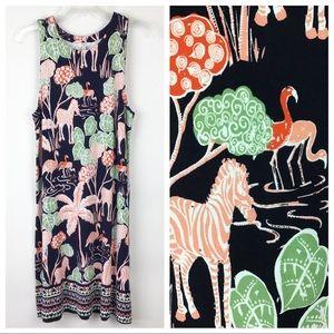 Crown and Ivy Zebra  Flamingo Tank Dress M (A579)